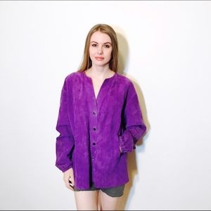 SHAMASK SUEDE PURPLE JACKET BERGDORF GOODMAN 3 L
